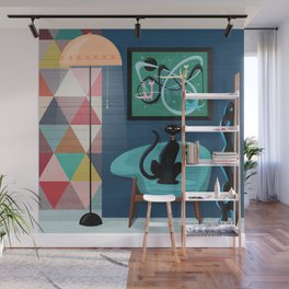Creature Comforts Mid-Century Interior With Black Cat Wall Mural