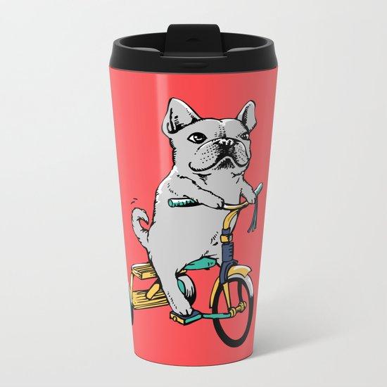 Frenchie Ride Metal Travel Mug