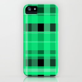 Shades of Green and Black Plaid iPhone Case