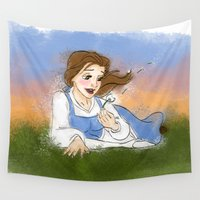 belle Wall Tapestries featuring PRINCESS BELLE by carotoki art and love