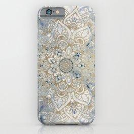 Yoga, Mandala, Blue and Gold, Wall Art Boho iPhone Case