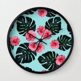 Tropical pattern n.1 - pale blue Wall Clock