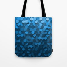 Blue hexagon abstract pattern Tote Bag