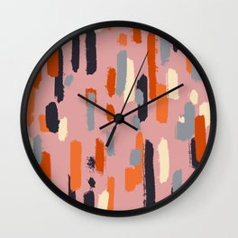 skritchy lines on pink Wall Clock