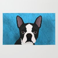 terrier Area & Throw Rugs featuring Boston terrier by Nir P