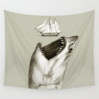 shark Wall Tapestries featuring shark by Кaterina Кalinich