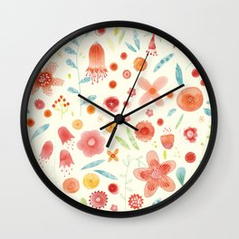 Watercolor Blooms Wall Clock