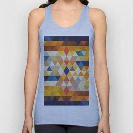 Geometric Triangle - Ethnic Inspired Pattern - Orange, Blue Unisex Tank Top