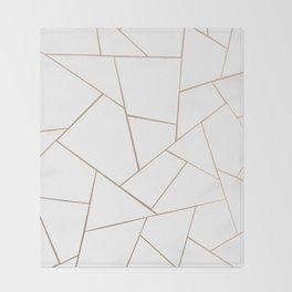 Rose Gold White Geometric Glam #1 #geo #decor #art #society6 Throw Blanket