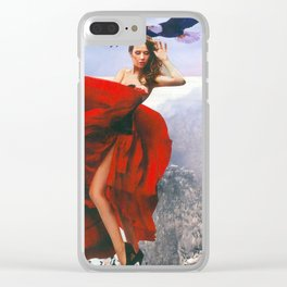 On The Edge Of A Cliff Clear iPhone Case