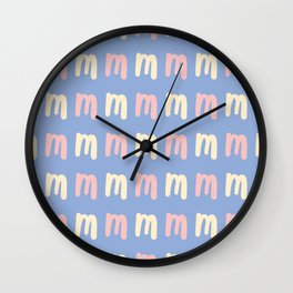 Lowercase Letter M Pattern Wall Clock