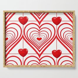 ABSTRACT PATTERN OF RED-WHITE VALENTINE HEARTS Serving Tray