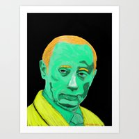 putin Art Prints featuring green putin by Sam Vasilevsky