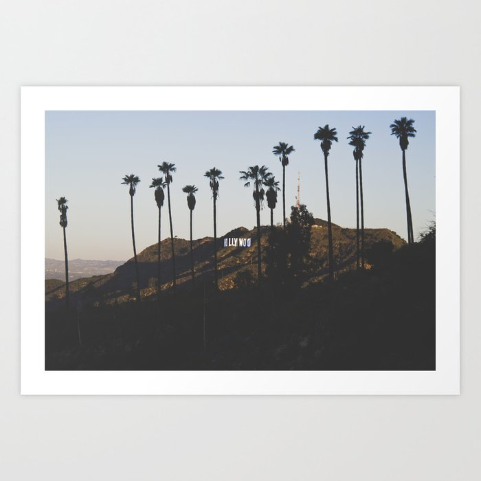 Hollywood Sign Through Palm Trees Art Print