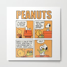 Peanuts Orange Metal Print