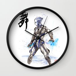 Liara from Mass Effect sumi style with calligraphy Wall Clock