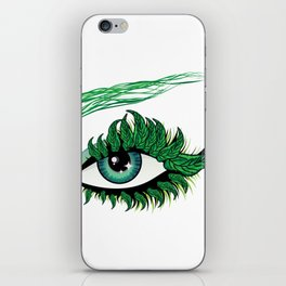 Spring eye with green leaves iPhone Skin