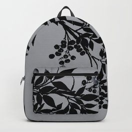 TREE BRANCHES BLACK AND GRAY LEAVES AND BERRIES Backpack