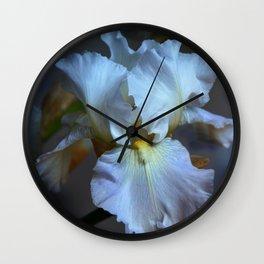 Blue bearded Iris in a cloudy sky Wall Clock