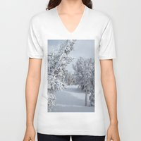 snow V-neck T-shirts featuring Snow by Chris Root