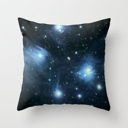 The Pleiades reflection nebula in the constellation of Taurus. Open star cluster. Throw Pillow