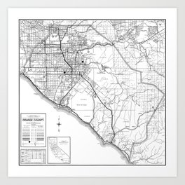 Orange County California Map in B&W Art Print