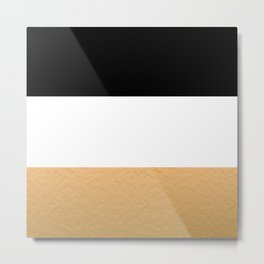 Black White Gold Color Blocks Metal Print