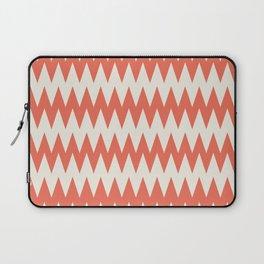 Pantone Cannoli Cream Soft Zigzag Pointed Rippled Horizontal Lines on Living Coral Laptop Sleeve