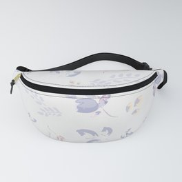 Spring watercolor leaves & tulips on white background Fanny Pack