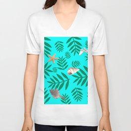 leaf coral Unisex V-Neck