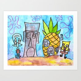 Who Lives in a Pineapple Under the Sea?! Art Print