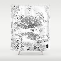 stockholm Shower Curtains featuring STOCKHOLM by Maps Factory