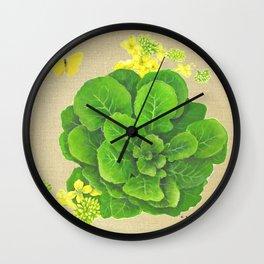 Collard Greens on Linen Wall Clock