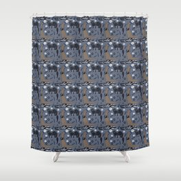 Fisher Martens pattern in violet blue and brown Shower Curtain