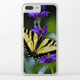 Butterfly on a Purple Flower Clear iPhone Case