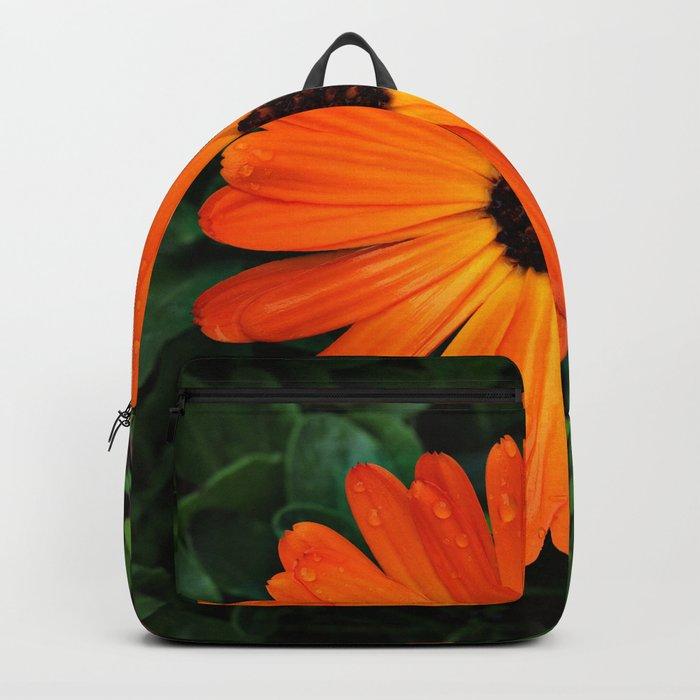 SMILE - DAISY FLOWER #3 #Orange #Raindrops Backpack