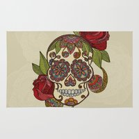 sugar skull Area & Throw Rugs featuring Sugar Skull by Valentina Harper