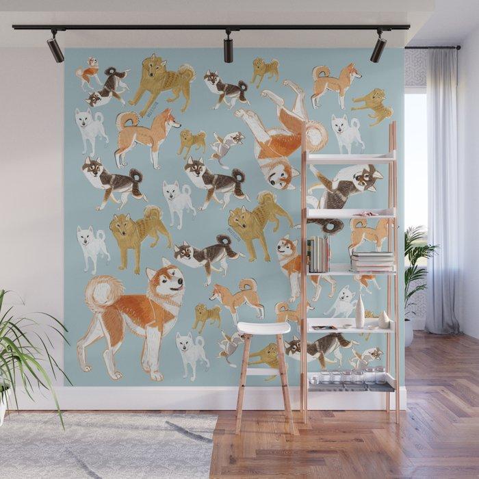 Year of the dog Japanese Dog Breeds Wall Mural by natachapink