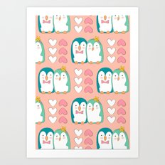 Valentine Penguin Art Print
