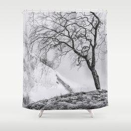 ON THE BRINK (graphite) / Møns Klint, Denmark Shower Curtain