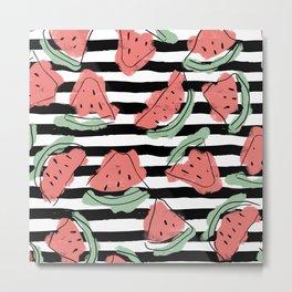 Geometric Artsy Watercolor Coral Mint Black Watermelon Metal Print