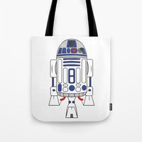 r2d2 Tote Bags featuring R2D2 by Gyunjoo Kim