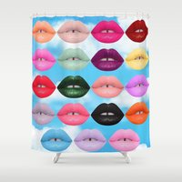lipstick Shower Curtains featuring LIPSTICK by I Love Decor