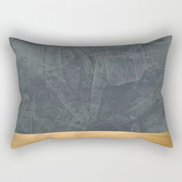 Slate Gray Stucco w Shiny Copper Metallic Trim - Faux Finishes - Rustic Glam Rectangular Pillow