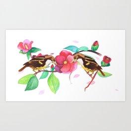 Camellia flowers and birds Art Print