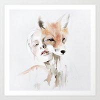 fox Art Prints featuring fox by Jen Mann