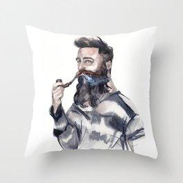 Brutal man sailor smoking a pipe Throw Pillow
