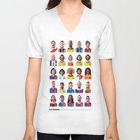 brazil V-neck T-shirts featuring Playmakers by Daniel Nyari