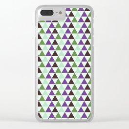 Geometrical purple green abstract triangles pattern Clear iPhone Case