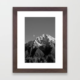 Moon Over Pioneer Peak B&W Framed Art Print